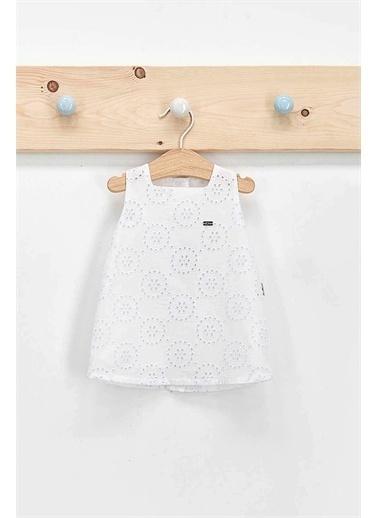 U.S. Polo Assn. Lisanslı Beyaz Kız Bebek Işlemeli Elbise Beyaz